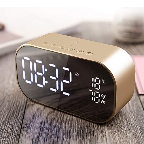 ROUHO S2 Dual Einheiten Drahtlose Bluetooth-Lautsprecher LED Display Uhr Spiegel Fm Radio Schweren Bass Lautsprecher-Gold