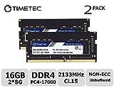Timetec Hynix IC 4GB DDR4 2133MHz PC4-17000 Unbuffered Non-ECC 1.2V CL15 1Rx8 Single Rank 260 Pin SODIMM Ordinateur Portable Mémoire RAM Module Upgrade (4GB) (16GB(8GB x2)(Single Rank))