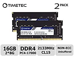 Timetec Hynix Ic Ddr4 2133mhz Pc4-17000 Non Ecc Unbuffered 1.2v Cl15 1rx8 Single Rank 260 Pin Sodimm Laptop Notebook Computer Memory Ram Module Upgrade (16gb(8gb X2)(single Rank))