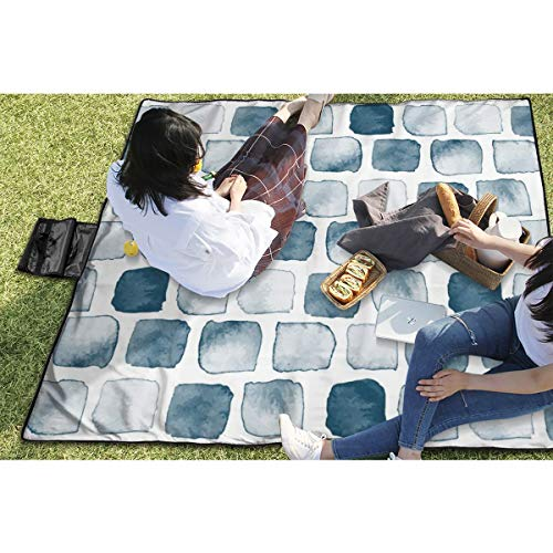BigHappyShop Picnic Blanket Slate Blue Watercolor Spots Dots Squares s Waterproof Extra Large Outdoor Mat Camping Or Travel Easy Carry Compact Tote Bag 59