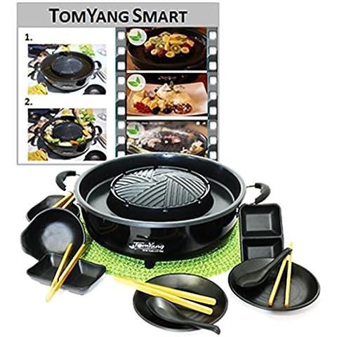 TomYang BBQ inkl. Premium Zubehör für 2 Personen! Der original Thai Grill und Hot Pot. Die gesunde Schlankmacher-Küche aus Fernost als Tischgrill, Elektrogrill und Asia Fondue. Grillen und Kochen ohne Zugabe von