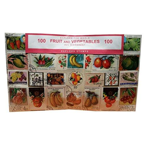 Artistic Obst und Gemüse Briefmarken, Welt, weltweit Collectible set 100Stück Briefmarken. Souvenir/Speicher/MEMORIA. 100verschiedene Briefmarken. timbre-poste/Briefmarke/francobollo/Sello (Einkaufszentrum) de CORREOS.