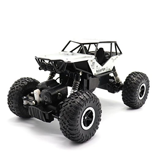 E-Young RC Cars 1:18 Remote Control Off-Road Racing Vehicles 2.4GHz 4WD Radio Controlled Trucks High Speed Rock Crawler Electric Buggy (silver)