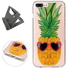 iPhone 7 Plus Funda de gel de Silicona (con Trípode Negro Libre) Keyye Cristal a Prueba de Golpes Suave Jalea de Goma TPU Parachoques Protección Shell Cubierta-Ananas dell'oro