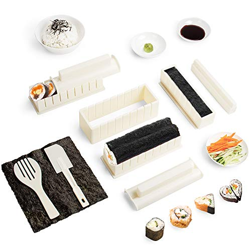 🍣 Hecho de plástico grueso y duradero, fácil de usar, perfecto para principiantes.  🍣 Hay 8 piezas de moldes que le permiten crear fácilmente Sushi en 5 formas diferentes!  🍣 Apto para lavavajillas para una limpieza super fácil. 🍣 Hay el manual con i...