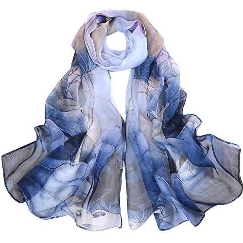 kingko Femme Foulard Soie Imprime Floral Coloré Grande Echarpe Châle Ultra-Léger Respirant Elégant Mode femmes lotus impression longue douce foulard foulard dames (Bleu)