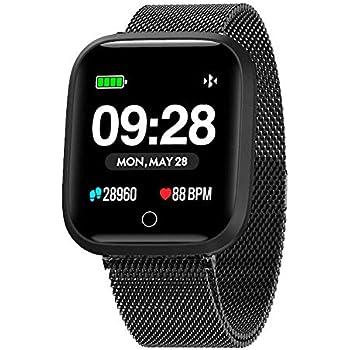Azorex SmartWatch Multifunción Reloj Inteligente Cuadrado Negocio Trabajo Impermeable IP67, Pulsera Actividad Control Remoto para iPhone Xiaomi, ...