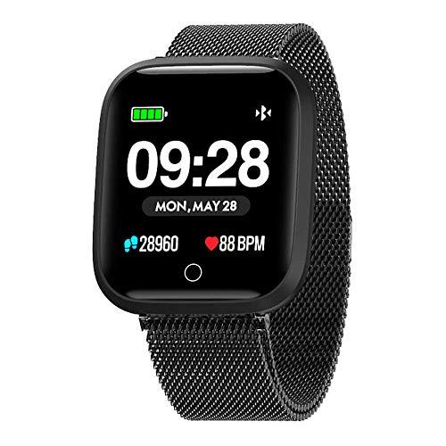 Azorex SmartWatch Multifunción Reloj Inteligente Cuadrado Negocio Trabajo Impermeable IP67, Pulsera Actividad Control Remoto para iPhone Xiaomi, Huawei Samsung Correa Metal Negro