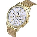 Relojes Pulsera Mujer, Xinan Moda Clásica de oro Cuarzo Ginebra Reloj de Pulsera de Acero inoxidable (Blanco)