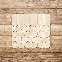 Chapa de madera auténtica schindeln–semicircular–franela cola en claro–Tamaños y cantidad de selección de, 1000 unidades, 35mm x 17.5mm
