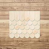 Echtholz Furnier helle Schindeln - halbrund - Biberschwanz - Größen- und Mengenauswahl, Schindelgröße:80mm x 40mm, Pack mit:100 Stück