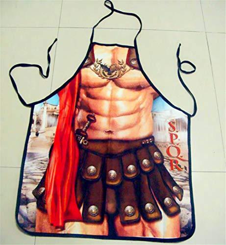 Unisex Schürzen 3D Krieger gedruckt Männer Frauen Funny Kitchen Schürzen Sexy Geschenk BBQ Party Kochen Kleidung - Krieger Kleidung Tragen