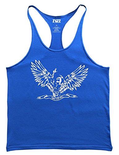 Musclealive Herren Bodybuilding ZYZZ Mode Tank Tops Baumwolle Farbe Blue Größe Small