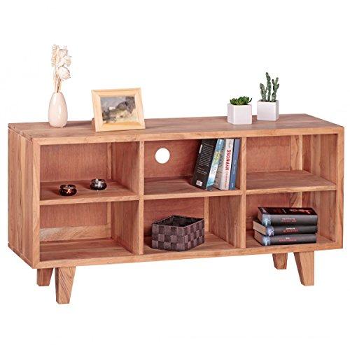 Lowboard Massivholz Akazie Kommode 118cm TV-Board 6 Fächer Landhaus-Stil dunkel-braun Unterschrank TV-Möbel