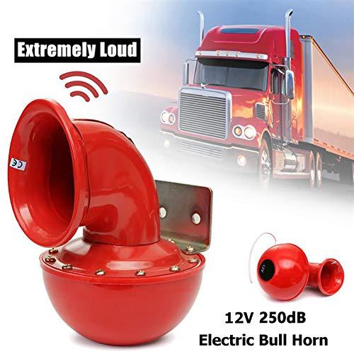 Sarplle 250DB Bull Horn 12v Auto Hupe Rot Elektrisches Bullhorn Super Laut Lufthorn Rot Drucklufthorn für Auto Motorrad LKW PKW Boot