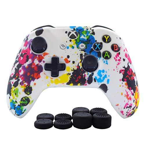 Hikfly Xbox One Controller Hülle Ärmel Haut Silikon Griff Anti-Rutsch Öl Gel Abdeckung Cover Case für Xbox One S/ One X Controller (1 x Hülle +8 x Thumb Griffe)(weiße Farben)