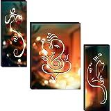 1ArtofCreation Set of 3 Shri Ganesh Ji Lighting Beautiful Home Decorative UV Textured Mdf Painting 12 Inch X 18 Inch SANFJM30