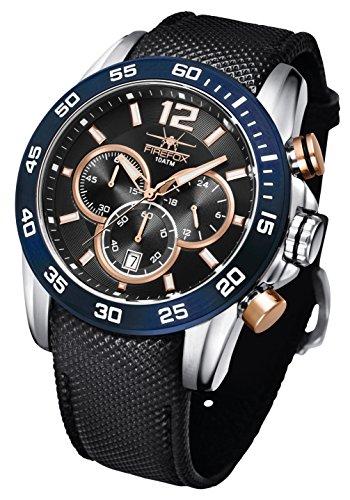 FIREFOX Falcon FFS180-103 Edelstahl schwarz/blau rosevergoldet Herrenuhr Armbanduhr Chronograph Spezial Lederarmband Sicherheitsdornschließe 10 ATM Prüfdruck