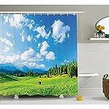 yeuss europäischen Vorhang für die Dusche von, Idyllische natur Landschaft auf die Alpen Wiese Berge mit Wolken Print, Stoff Badezimmer Decor Set mit Haken, Grün Blau 152,4x 182,9cm, 60