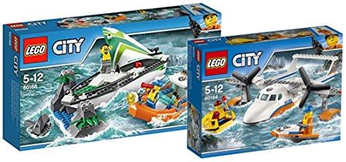 Preisvergleich Produktbild LEGO City 60168 - Segelboot in Not + LEGO City 60164 - Rettungsflugzeug