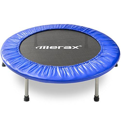 Merax Fitnesstrampolin, Minitrampolin, klappbare Indoortrampolin für Fitnesstraining, Gymnastik Trampolin, Durchmesser ca. 102cm (40'), Max. Benutzergewicht 100kg