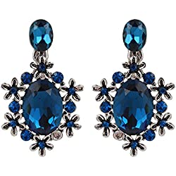 Snyter High Fashion Heartthrob Crystal Earrings for Girls - Fancy Diamond Tops for Women - Partywear Imitation Jewelry - Blue