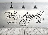 Sticker mural cuisine 68106-58 x 22 cm Texte : Bon Appétit autocollant Sticker mural, fenêtre, porte