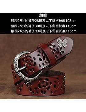 SILIU*Sujetador remaches de cuero Sra. decorado ancho cinturón de cuero salvaje grabado lounge , marrón ,110cm...