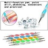 Yogogo nail art accessoires professionnel,5pcs / set Fournitures Double Nail Point Drill Pen de Spiral Rod Point Peinture Pen