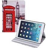 tinxi® PU piel funda para Apple iPad Air 2 / iPad 6 9.7 pulgadas (26,64cm) Caso Caja Cubierta con la función del soporte con el dibujo de una cabina telefonica roja