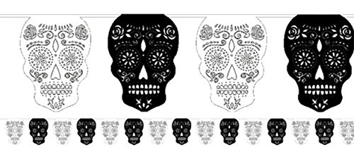 erdbeerloft - Dekoration Totenfest Muerte Sugar Skull Girlande 3,7 m, (Kostüme Tanz Mumie)
