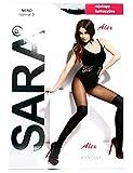A.S.A.R. Blickdichte Damen Strumpfhose in Overknee Look mit halbtransparenten Oberschenkel Pantyhose Stockings Schwarz