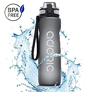 ADORIC Sports Water Bottle, 1Litre/1000ml/36oz BPA Free Tritan Non-Toxic Plastic Sport Water Cup, Durable Leak Proof Water Bottle with Filter, Flip Top, Gray