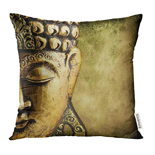 Trsdshorts Throw Pillow Cover Buda Buddha Gold Buddhist Face Peace Freiheit Decorative Pillow Case Home Decor Square 18x18 Inches Pillowcase