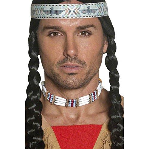 Smiffys, Unisex Indianer Halsschmuck, One Size, Weiß, (Up Ideen Western Dress)