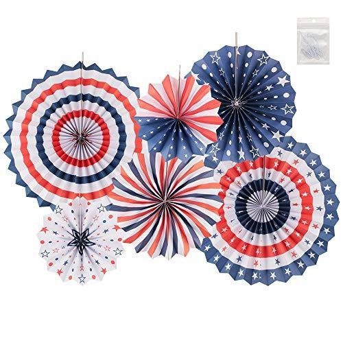 er Dekorationen Fiesta Party Hanging Paper Fans Dekorationen Creative Art Design Pattern Dekoration für Valentinstag Geburtstag Hochzeitsfeier (Rot Weiß Blau, 6 PCS) ()