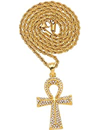 MCSAYS Colgante collar de regalos Hip Hop Moda cruz de Ankh Crystal Bling Bling chapado en oro de la cadena cubana