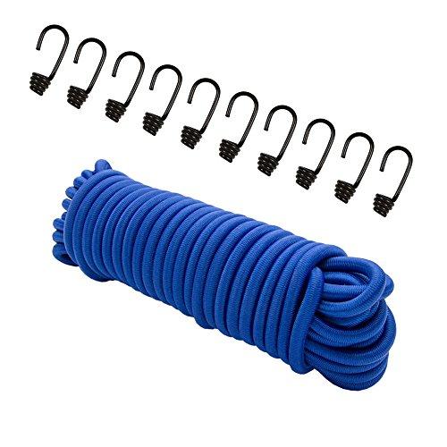 Expanderseil 20 m Blau, (Gummiseil) 8 mm Gummischnur Spannseil Planenseil Gummileine Seil + 10 Spiralhaken für 8mm Seil Haken Metallhaken -