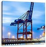 Containerkran im Hafen, Format: 70x70 auf Leinwand, XXL riesige Bilder fertig gerahmt mit Keilrahmen, Kunstdruck auf Wandbild mit Rahmen, günstiger als Gemälde oder Ölbild, kein Poster oder Plakat