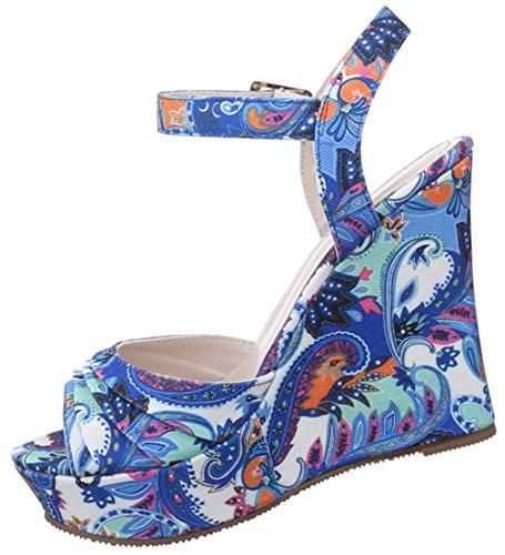 Damen Sandaletten Schuhe Pumps Plateau Heels Stilettos Keilabsatz Wedges Plateau schwarz blau rot camel 36 37 38 39 40 41 Blau