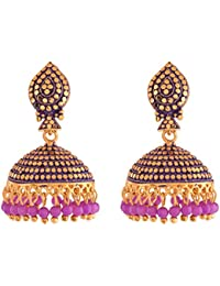 Ganapathy Gems Designer Antique Gold Plated Jhumki With Purple Drops (9200) 9200