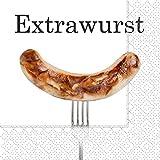 Servietten Essen Grillen Barbecue Extrawurst 20 Stück, 3-lagig 33x33cm