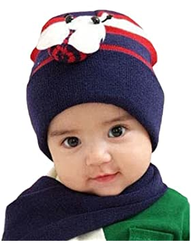 LOCOMO bebé infantil abeja Beanie Hat Cap bufanda cálida Combo Set fba001s03azul marino