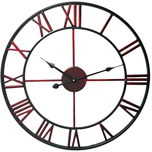 TXXCI Horloge pendule murale en métal vintage - diamètre 40 cm size 50 * 50 * 4 cm (Rouge + Noir)
