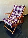 POLTRONA SEDIA SDRAIO HARMONY RELAX (BORDEAUX) in legno pieghevole cuscino imbottito soggiorno cucina giardino salone divano