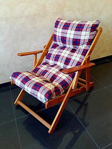 Totò piccinni poltrona sedia sdraio harmony relax (bordeaux) in legno pieghevole cuscino imbottito soggiorno cucina giardino salone divano
