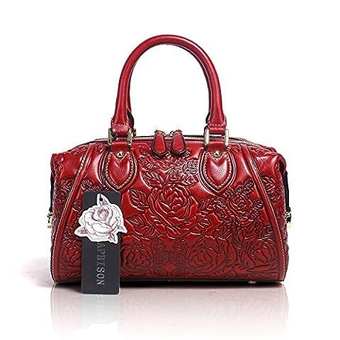 Aphison Designer Unique Embossed Floral Header Layer Cowhide Tote Style Ladies Top Handle Bags Handbags