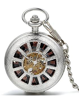 JewelryWe Steampunk Handaufzug mechanische Taschenuhr Retro geometrische Muster Herren Kettenuhr Uhr mit Halskette...