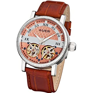 AUER Classic Collection BA-511-RSBrL Automatic Mens Watch 2 open balance wheels