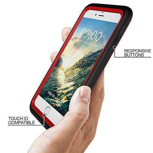 Wasserdichte Schutzhülle für iPhone 7 Plus 5.5 Zoll, Skitic Unterwasserhülle Ganzkörper Outdoor Handyhülle Staubdicht Stoßfest Hülle Tasche Bumper Cover Ultradünnes Gehäuse Waterproof Case - Weiß Rot
